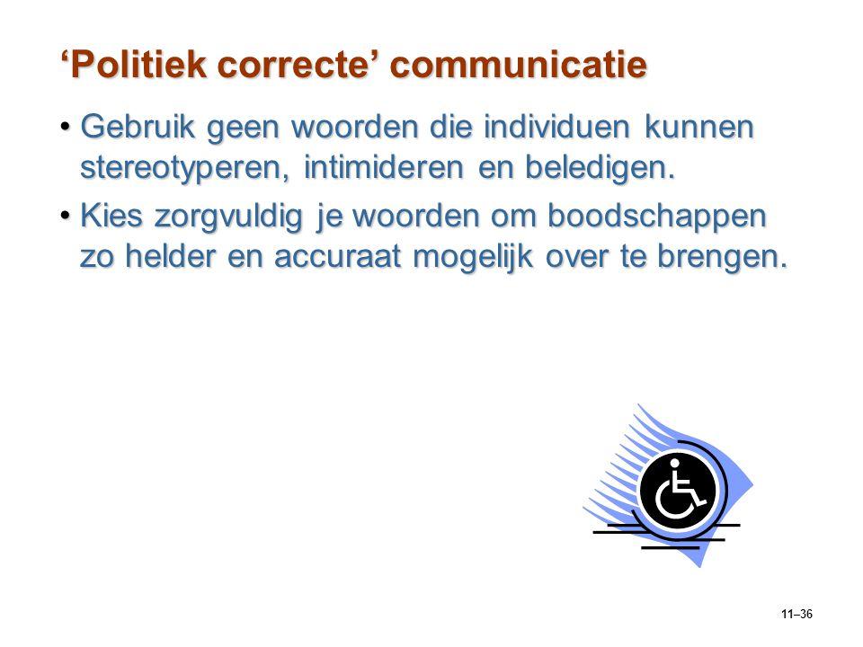 11–36 'Politiek correcte' communicatie Gebruik geen woorden die individuen kunnen stereotyperen, intimideren en beledigen.Gebruik geen woorden die ind