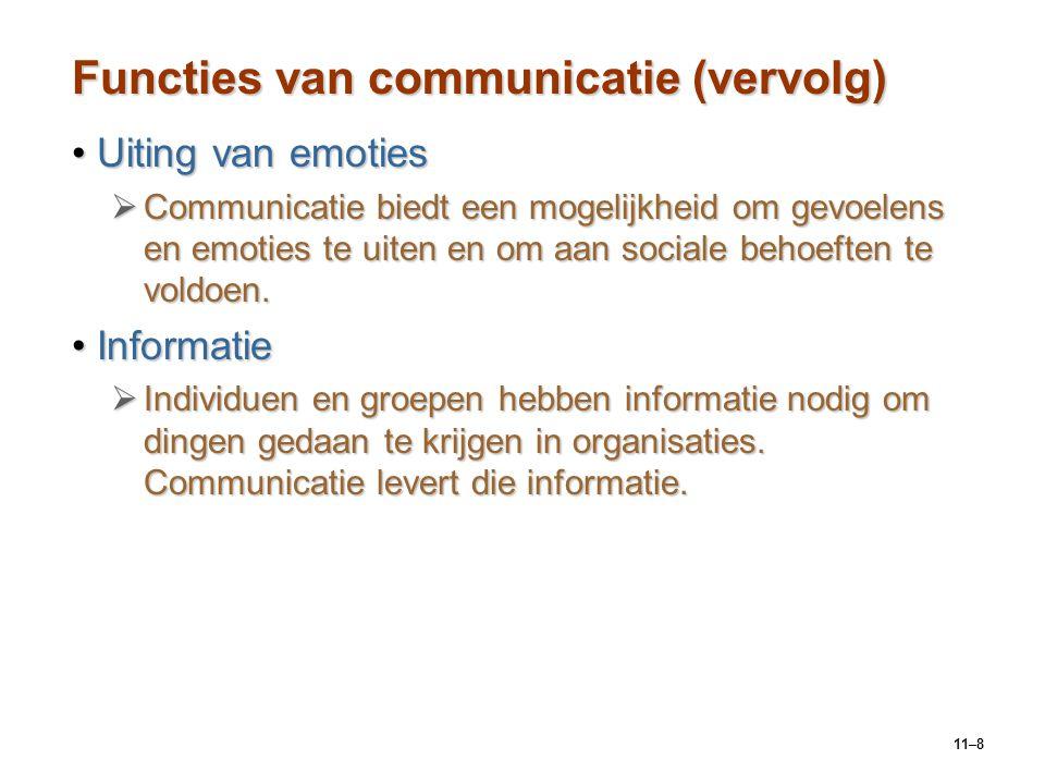 11–8 Functies van communicatie (vervolg) Uiting van emotiesUiting van emoties  Communicatie biedt een mogelijkheid om gevoelens en emoties te uiten e
