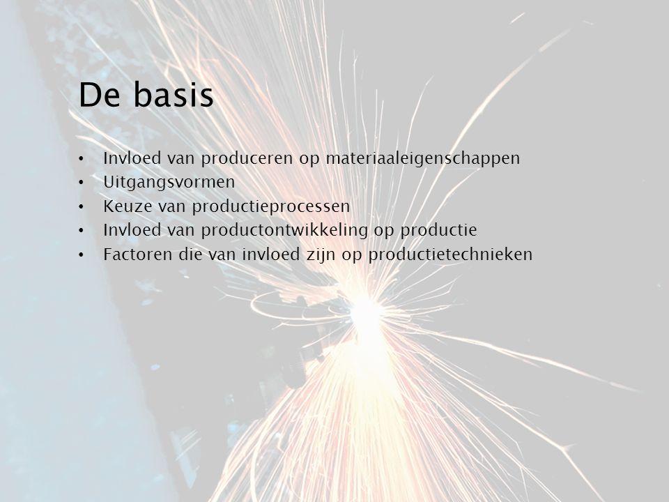 De basis Invloed van produceren op materiaaleigenschappen Uitgangsvormen Keuze van productieprocessen Invloed van productontwikkeling op productie Fac
