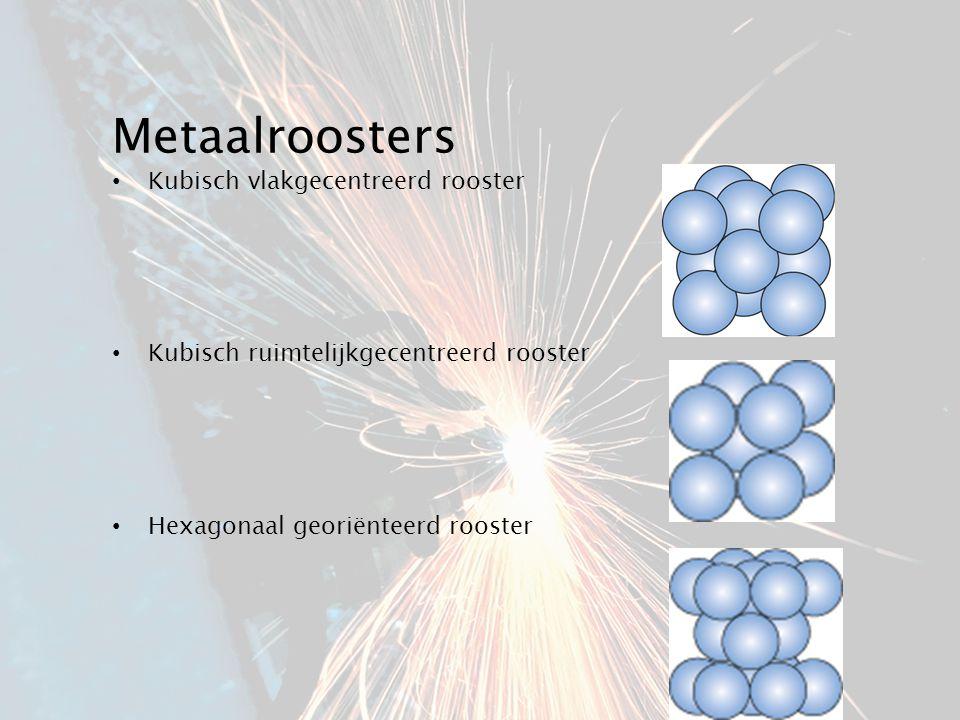 Metaalroosters Kubisch vlakgecentreerd rooster Kubisch ruimtelijkgecentreerd rooster Hexagonaal georiënteerd rooster