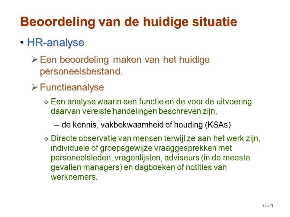 11–13 Beoordeling van de huidige situatie HR-analyseHR-analyse  Een beoordeling maken van het huidige personeelsbestand.  Functieanalyse  Een analy