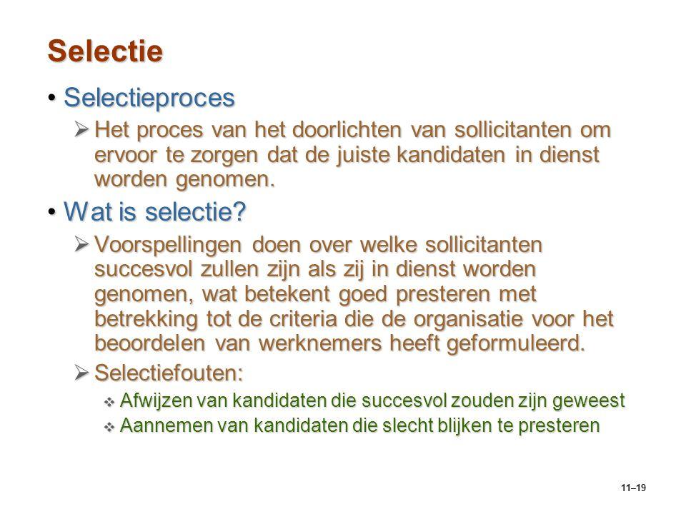 11–19 Selectie SelectieprocesSelectieproces  Het proces van het doorlichten van sollicitanten om ervoor te zorgen dat de juiste kandidaten in dienst
