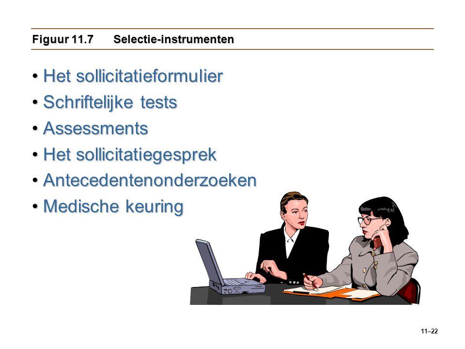 11–22 Figuur 11.7Selectie-instrumenten Het sollicitatieformulierHet sollicitatieformulier Schriftelijke testsSchriftelijke tests AssessmentsAssessment