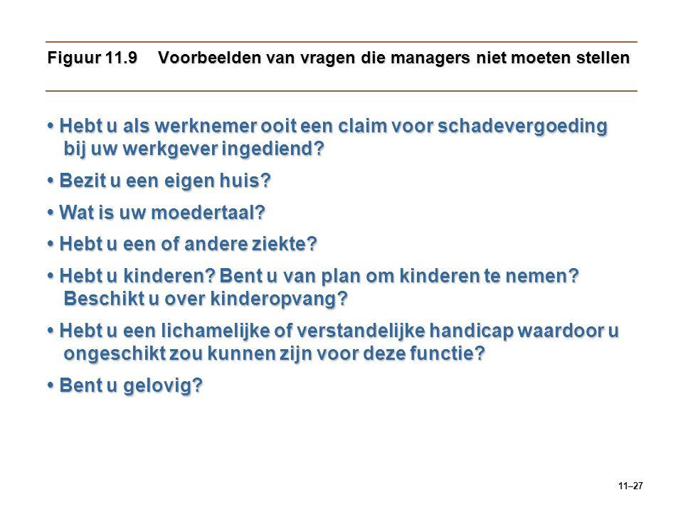 11–27 Figuur 11.9Voorbeelden van vragen die managers niet moeten stellen Hebt u als werknemer ooit een claim voor schadevergoeding bij uw werkgever in