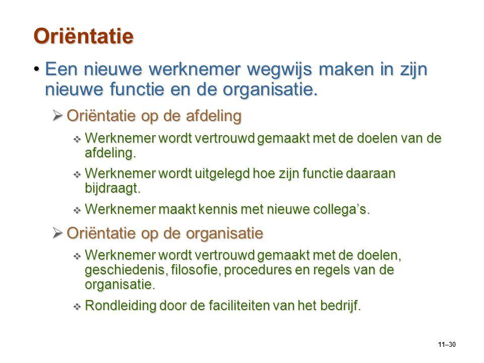 11–30 Oriëntatie Een nieuwe werknemer wegwijs maken in zijn nieuwe functie en de organisatie.Een nieuwe werknemer wegwijs maken in zijn nieuwe functie