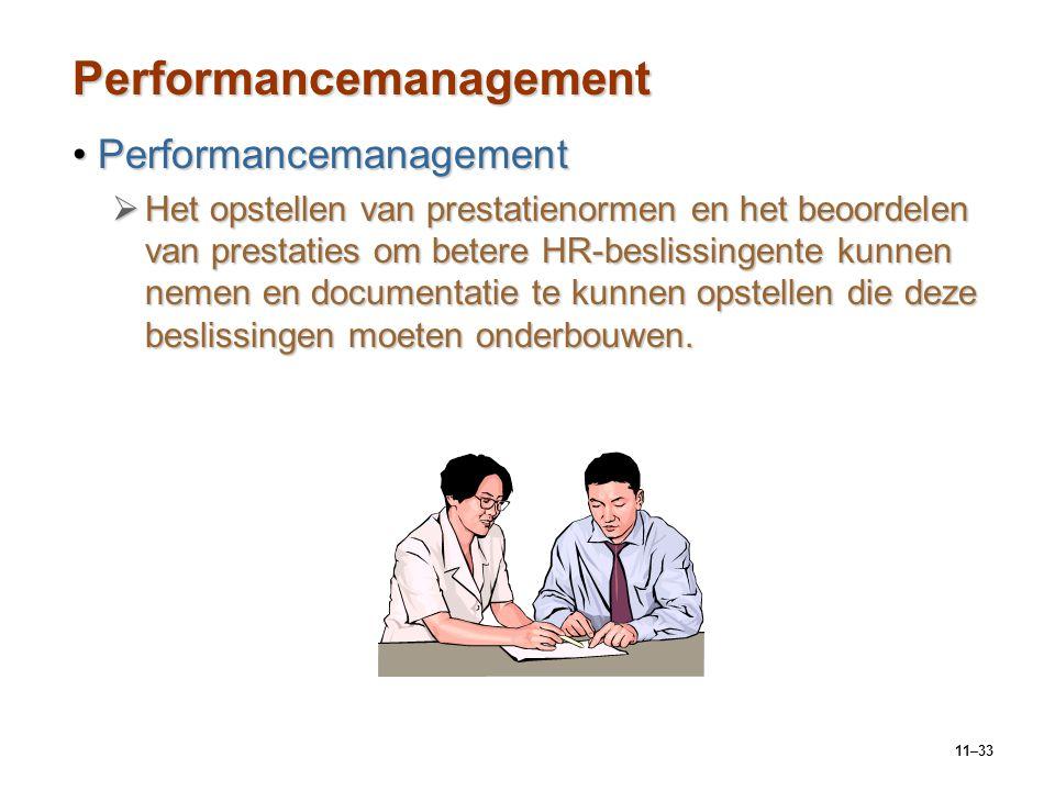 11–33 Performancemanagement PerformancemanagementPerformancemanagement  Het opstellen van prestatienormen en het beoordelen van prestaties om betere