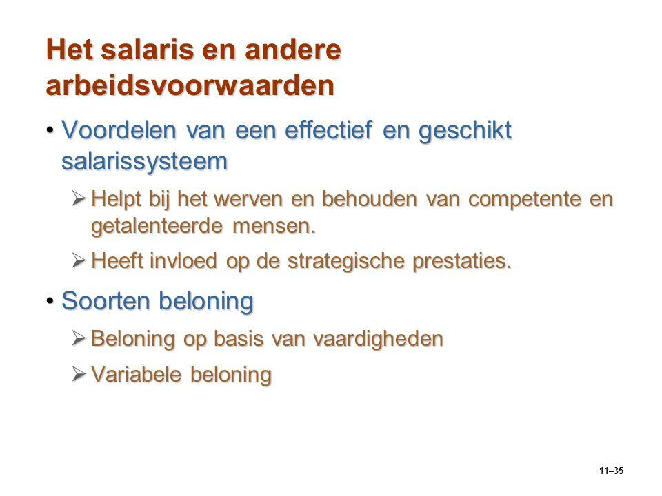 11–35 Het salaris en andere arbeidsvoorwaarden Voordelen van een effectief en geschikt salarissysteemVoordelen van een effectief en geschikt salarissy