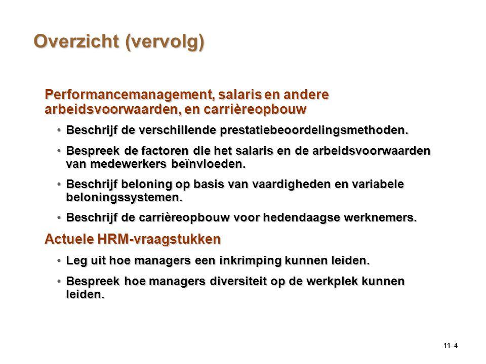 11–4 Overzicht (vervolg) Performancemanagement, salaris en andere arbeidsvoorwaarden, en carrièreopbouw Beschrijf de verschillende prestatiebeoordelin