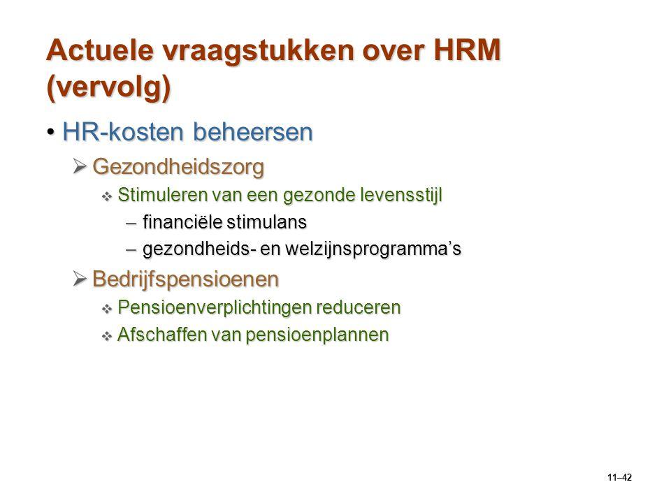 11–42 Actuele vraagstukken over HRM (vervolg) HR-kosten beheersenHR-kosten beheersen  Gezondheidszorg  Stimuleren van een gezonde levensstijl –finan