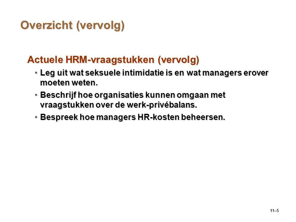 11–5 Overzicht (vervolg) Actuele HRM-vraagstukken (vervolg) Leg uit wat seksuele intimidatie is en wat managers erover moeten weten.Leg uit wat seksue