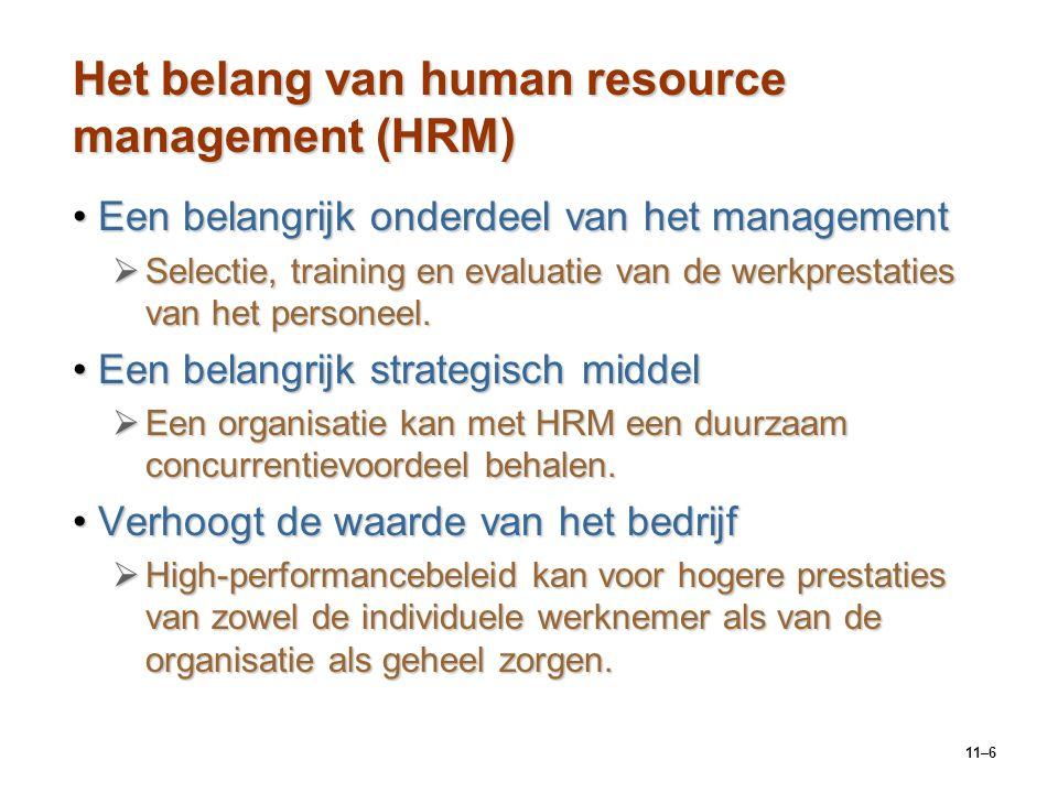 11–6 Het belang van human resource management (HRM) Een belangrijk onderdeel van het managementEen belangrijk onderdeel van het management  Selectie,