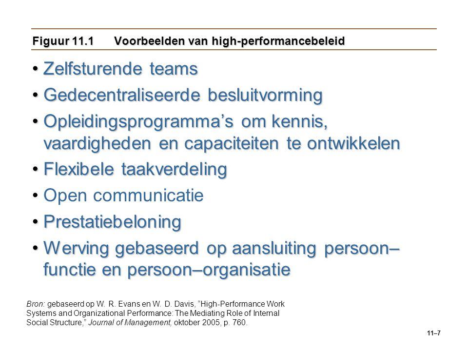 11–7 Figuur 11.1Voorbeelden van high-performancebeleid Zelfsturende teamsZelfsturende teams Gedecentraliseerde besluitvormingGedecentraliseerde beslui
