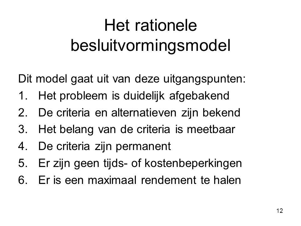 12 Het rationele besluitvormingsmodel Dit model gaat uit van deze uitgangspunten: 1.Het probleem is duidelijk afgebakend 2.De criteria en alternatieve