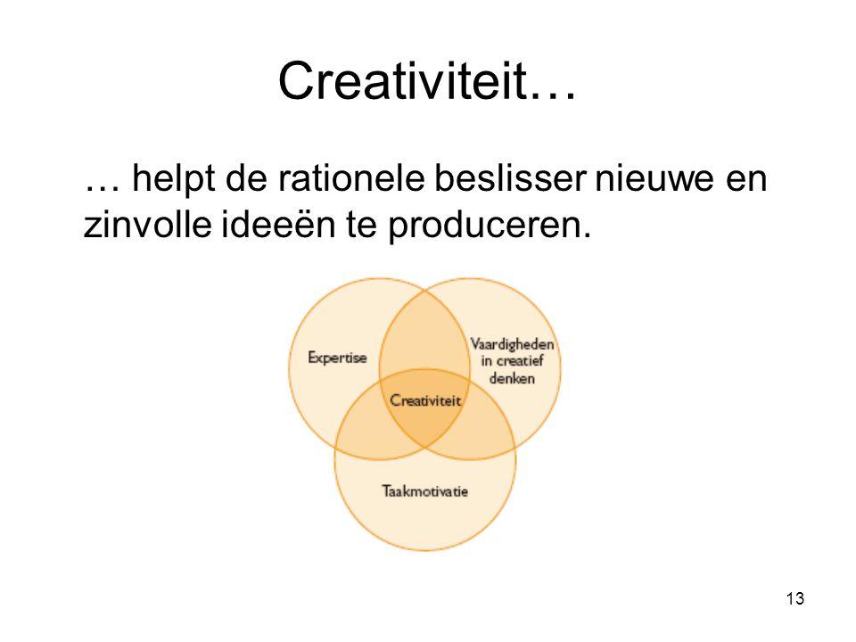 13 Creativiteit… … helpt de rationele beslisser nieuwe en zinvolle ideeёn te produceren.