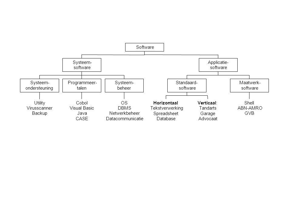 Utility Virusscanner Backup Systeem- ondersteuning Cobol Visual Basic Java CASE Programmeer- talen OS DBMS Netwerkbeheer Datacommunicatie Systeem- beheer Systeem- software Horizontaal: Tekstverwerking Spreadsheet Database Verticaal: Tandarts Garage Advocaat Standaard- software Shell ABN-AMRO GVB Maatwerk- software Applicatie- software Software