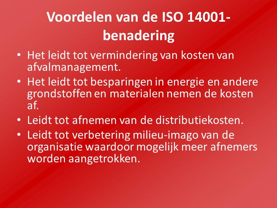 Voordelen van de ISO 14001- benadering Het leidt tot vermindering van kosten van afvalmanagement.