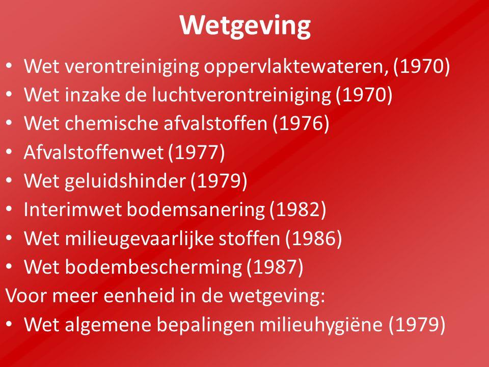 Wetgeving Wet verontreiniging oppervlaktewateren, (1970) Wet inzake de luchtverontreiniging (1970) Wet chemische afvalstoffen (1976) Afvalstoffenwet (1977) Wet geluidshinder (1979) Interimwet bodemsanering (1982) Wet milieugevaarlijke stoffen (1986) Wet bodembescherming (1987) Voor meer eenheid in de wetgeving: Wet algemene bepalingen milieuhygiëne (1979)