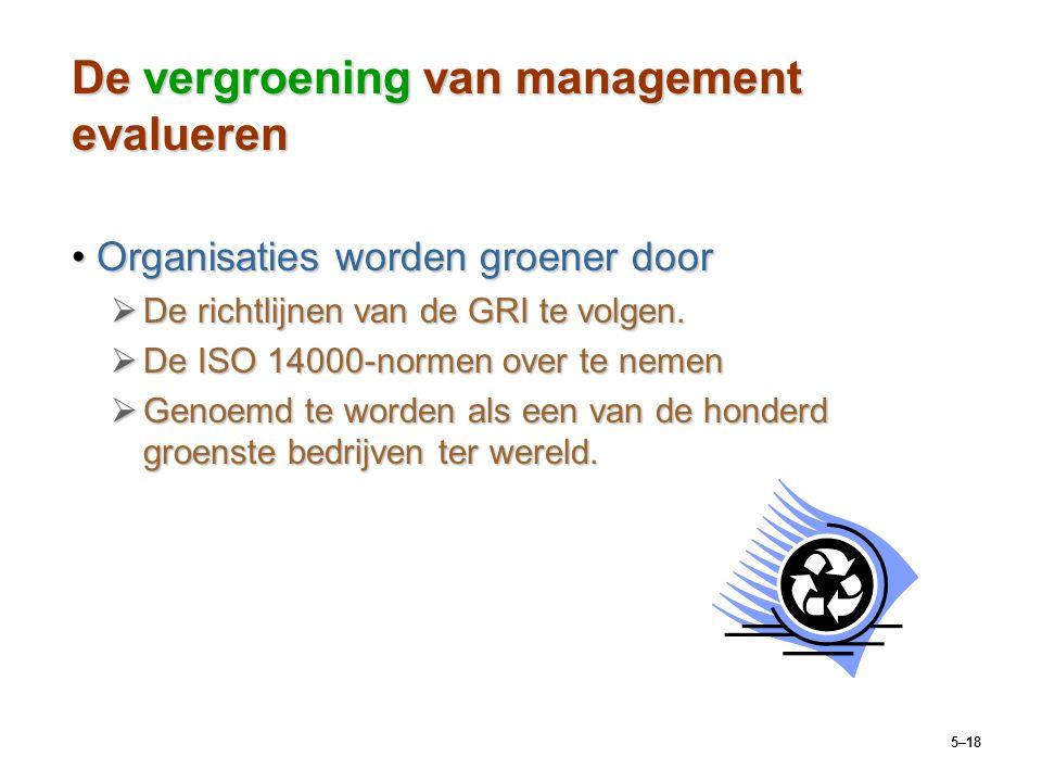 5–18 De vergroening van management evalueren Organisaties worden groener doorOrganisaties worden groener door  De richtlijnen van de GRI te volgen. 