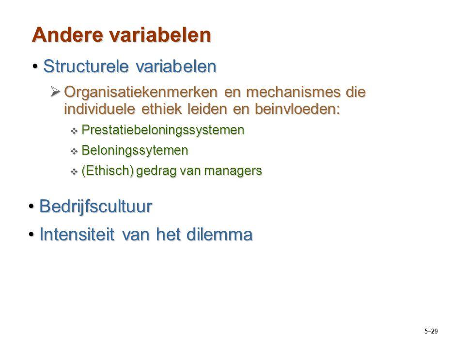 5–29 Andere variabelen Structurele variabelenStructurele variabelen  Organisatiekenmerken en mechanismes die individuele ethiek leiden en beinvloeden