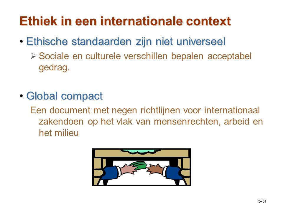 5–31 Ethiek in een internationale context Ethische standaarden zijn niet universeelEthische standaarden zijn niet universeel   Sociale en culturele