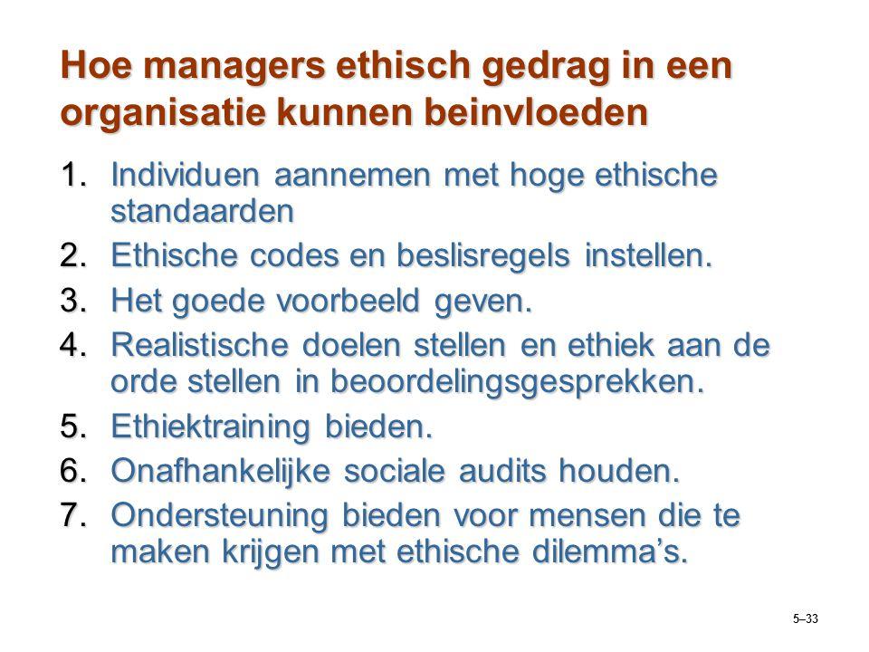 5–33 Hoe managers ethisch gedrag in een organisatie kunnen beinvloeden 1.Individuen aannemen met hoge ethische standaarden 2.Ethische codes en beslisr