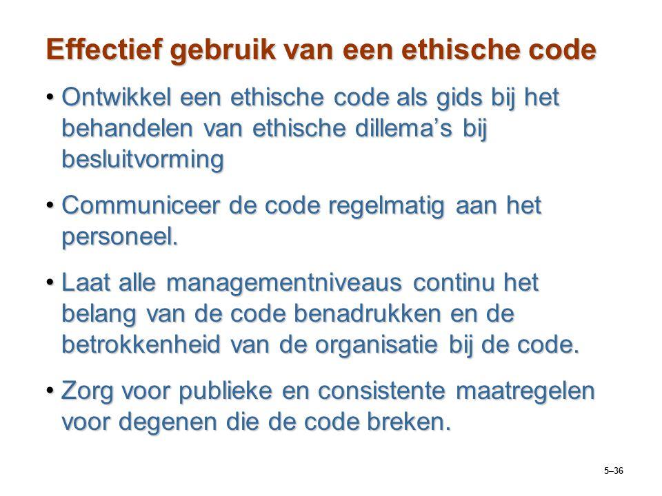 5–36 Effectief gebruik van een ethische code Ontwikkel een ethische code als gids bij het behandelen van ethische dillema's bij besluitvormingOntwikke