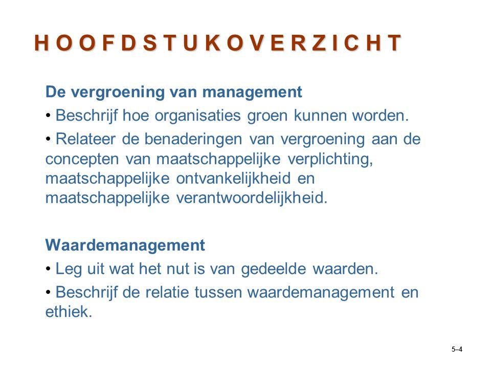 5–4 De vergroening van management Beschrijf hoe organisaties groen kunnen worden. Relateer de benaderingen van vergroening aan de concepten van maatsc