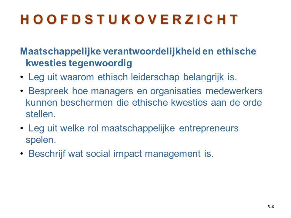 5–6 Maatschappelijke verantwoordelijkheid en ethische kwesties tegenwoordig Leg uit waarom ethisch leiderschap belangrijk is. Bespreek hoe managers en