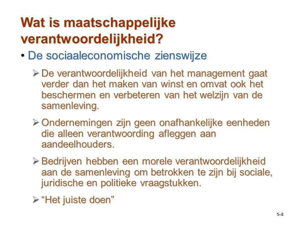 5–8 Wat is maatschappelijke verantwoordelijkheid? De sociaaleconomische zienswijzeDe sociaaleconomische zienswijze  De verantwoordelijkheid van het m