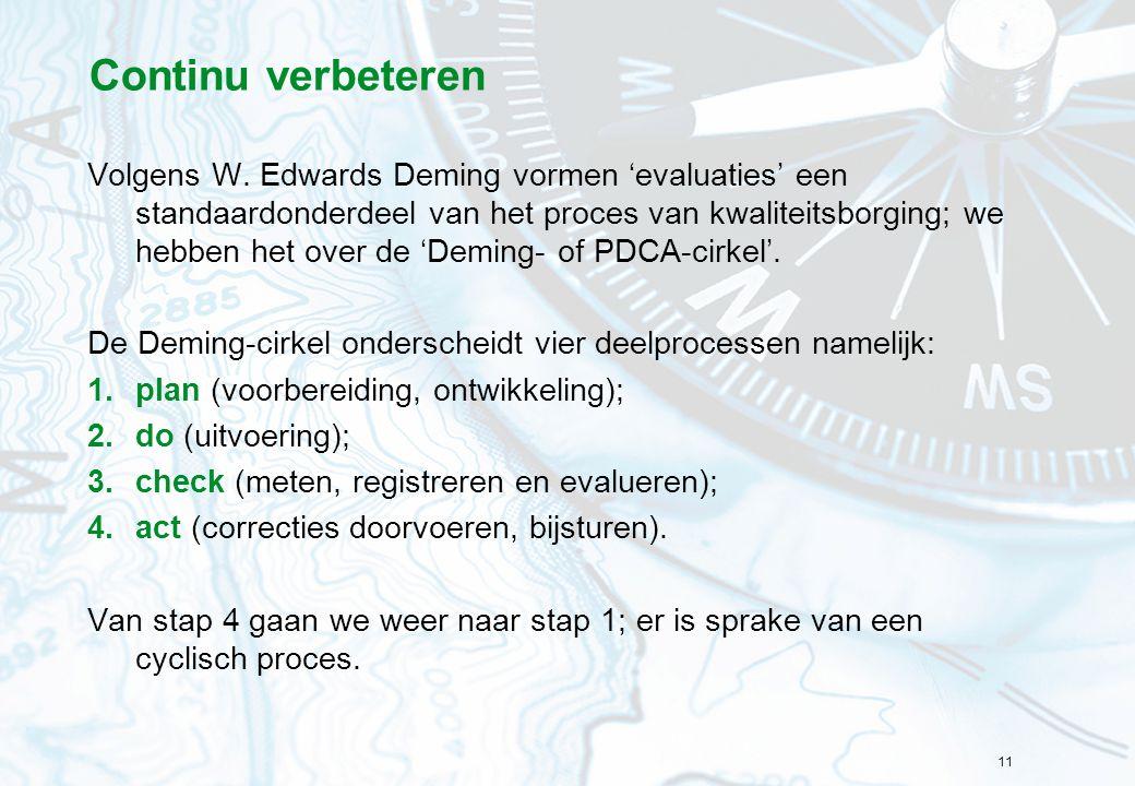 11 Continu verbeteren Volgens W. Edwards Deming vormen 'evaluaties' een standaardonderdeel van het proces van kwaliteitsborging; we hebben het over de
