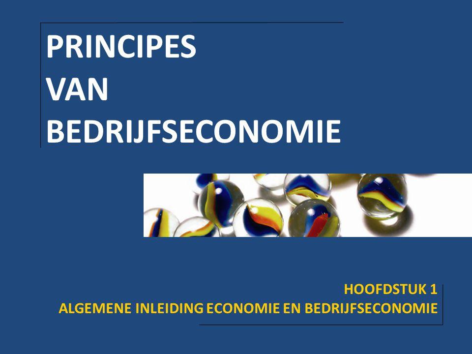 PRINCIPES VAN BEDRIJFSECONOMIE HOOFDSTUK 1 ALGEMENE INLEIDING ECONOMIE EN BEDRIJFSECONOMIE