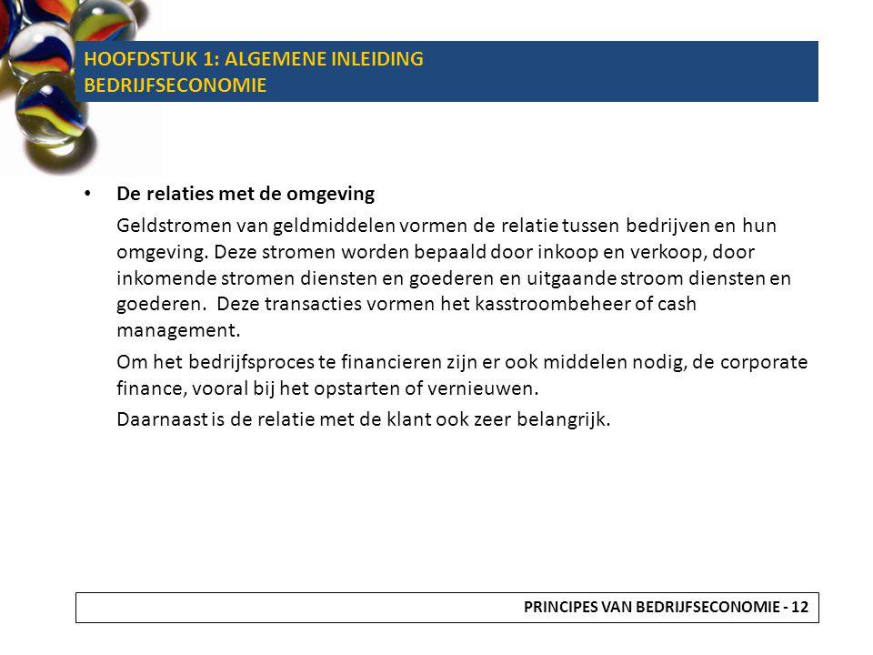De relaties met de omgeving Geldstromen van geldmiddelen vormen de relatie tussen bedrijven en hun omgeving.