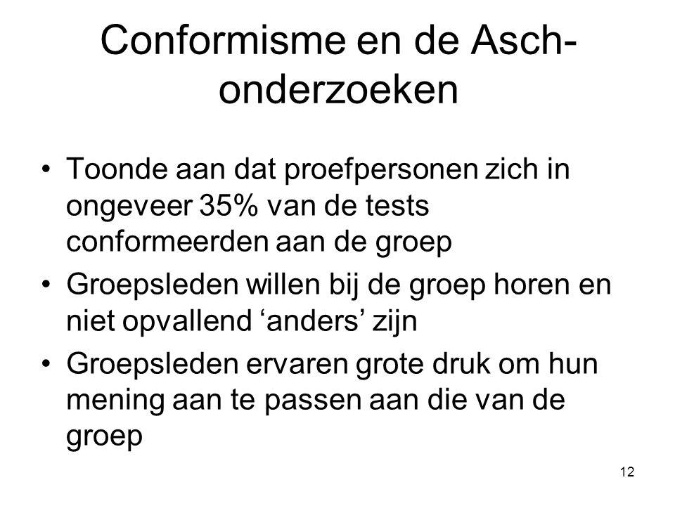 12 Conformisme en de Asch- onderzoeken Toonde aan dat proefpersonen zich in ongeveer 35% van de tests conformeerden aan de groep Groepsleden willen bij de groep horen en niet opvallend 'anders' zijn Groepsleden ervaren grote druk om hun mening aan te passen aan die van de groep