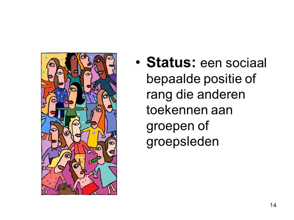 14 Status: een sociaal bepaalde positie of rang die anderen toekennen aan groepen of groepsleden