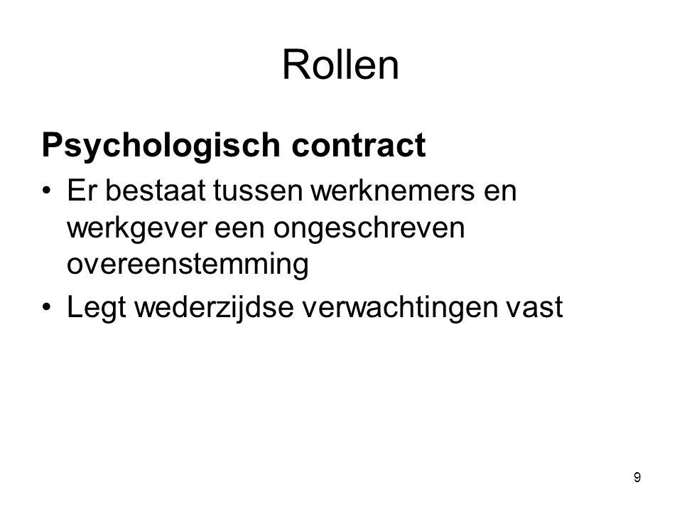 9 Rollen Psychologisch contract Er bestaat tussen werknemers en werkgever een ongeschreven overeenstemming Legt wederzijdse verwachtingen vast