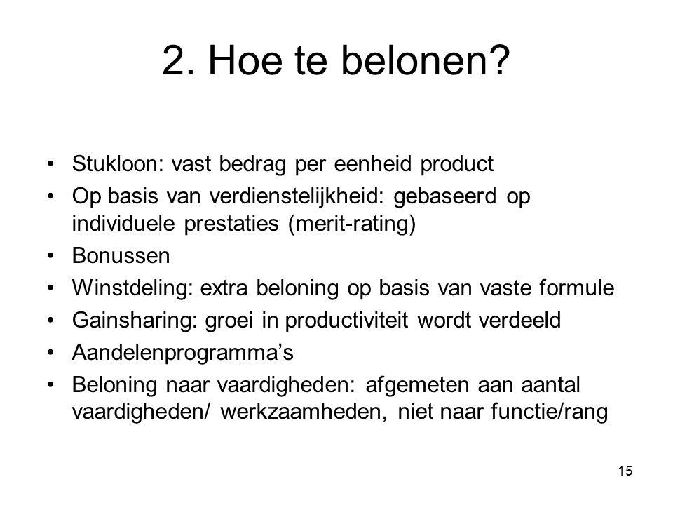 15 2. Hoe te belonen? Stukloon: vast bedrag per eenheid product Op basis van verdienstelijkheid: gebaseerd op individuele prestaties (merit-rating) Bo