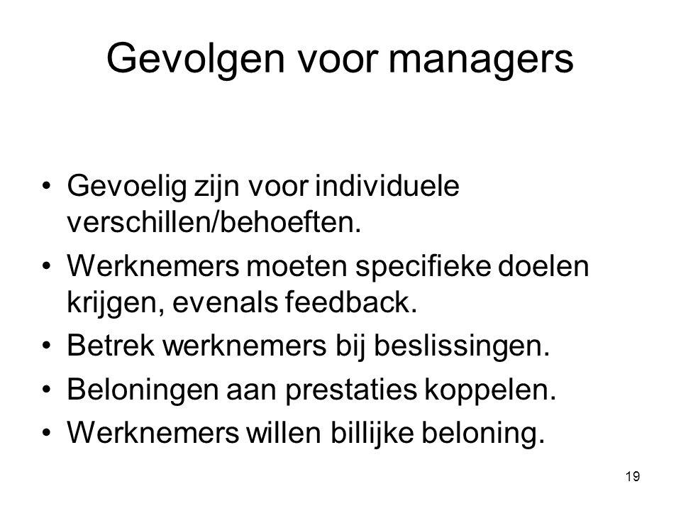 19 Gevolgen voor managers Gevoelig zijn voor individuele verschillen/behoeften. Werknemers moeten specifieke doelen krijgen, evenals feedback. Betrek