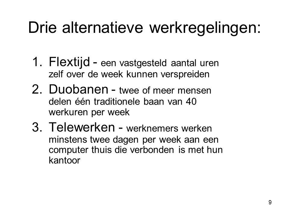 9 Drie alternatieve werkregelingen: 1.Flextijd - een vastgesteld aantal uren zelf over de week kunnen verspreiden 2.Duobanen - twee of meer mensen del