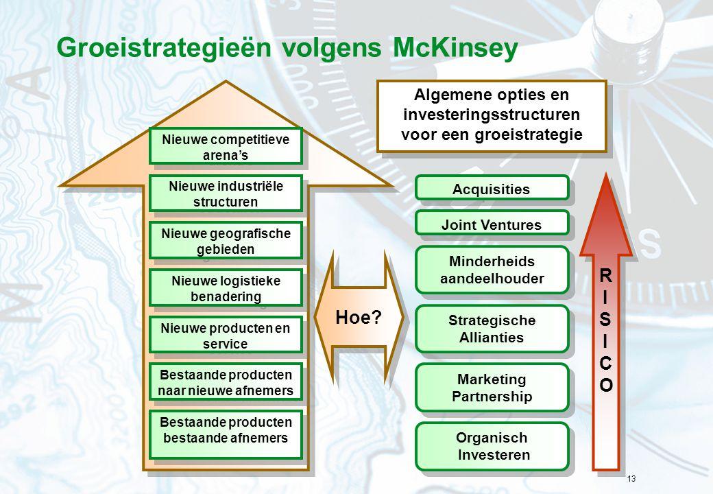 13 Groeistrategieën volgens McKinsey Nieuwe competitieve arena's Nieuwe industriële structuren Nieuwe geografische gebieden Nieuwe logistieke benaderi