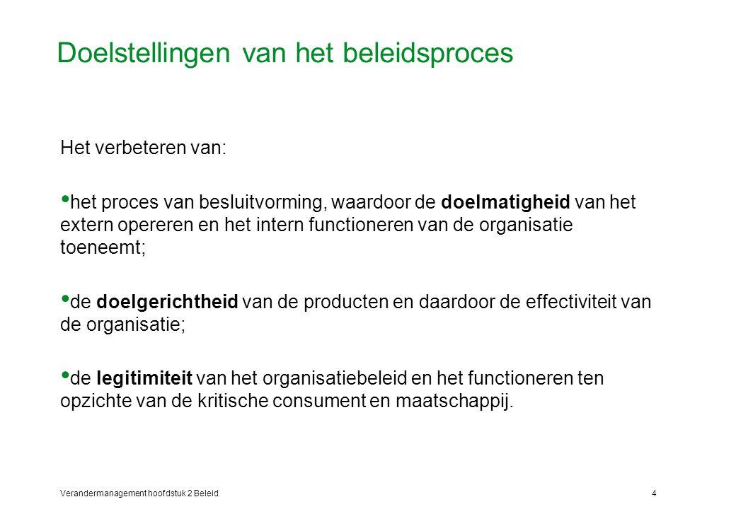 Verandermanagement hoofdstuk 2 Beleid4 Doelstellingen van het beleidsproces Het verbeteren van: het proces van besluitvorming, waardoor de doelmatigheid van het extern opereren en het intern functioneren van de organisatie toeneemt; de doelgerichtheid van de producten en daardoor de effectiviteit van de organisatie; de legitimiteit van het organisatiebeleid en het functioneren ten opzichte van de kritische consument en maatschappij.