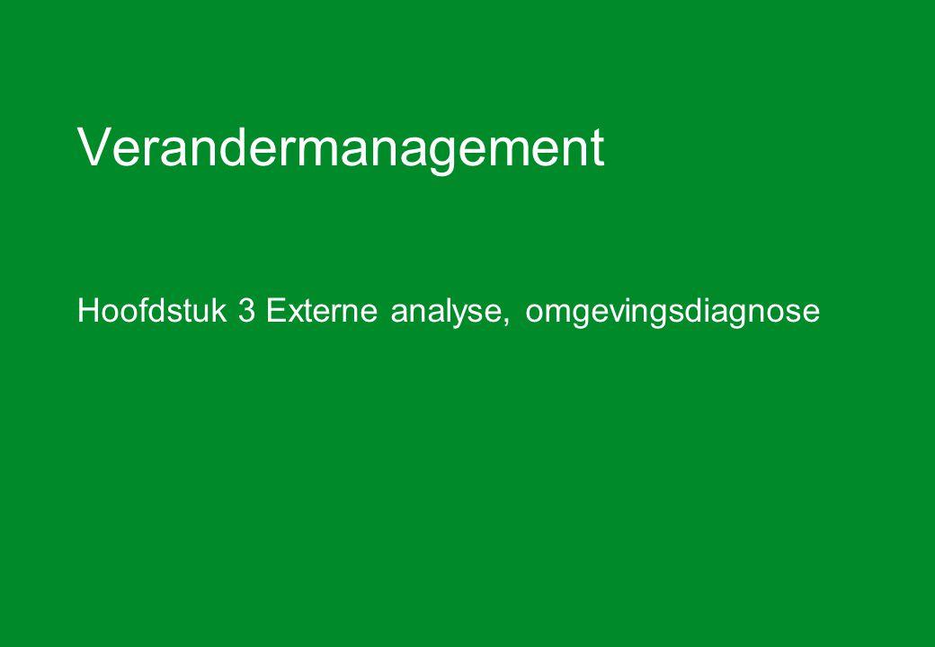 Verandermanagement hoofdstuk 3 Externe analyse12 De BCG portfolioanalyse (2) We onderscheiden vier cellen in de BCG matrix, op basis van de hoeveelheid cashflow, die de producten opleveren of van het bedrijf nodig hebben.
