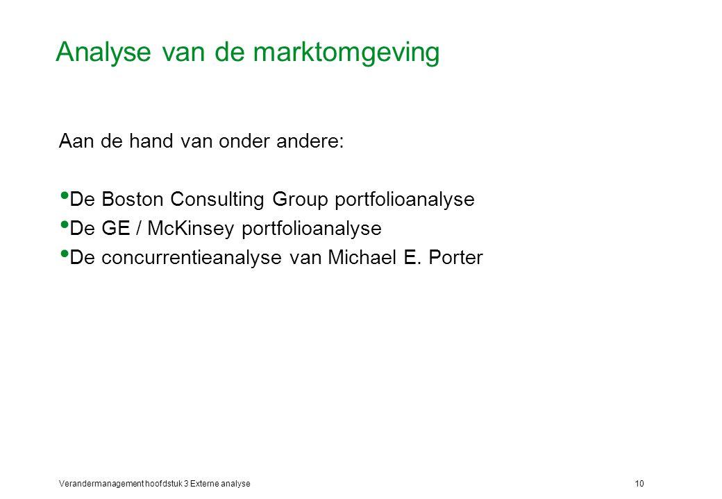 Verandermanagement hoofdstuk 3 Externe analyse10 Analyse van de marktomgeving Aan de hand van onder andere: De Boston Consulting Group portfolioanalys