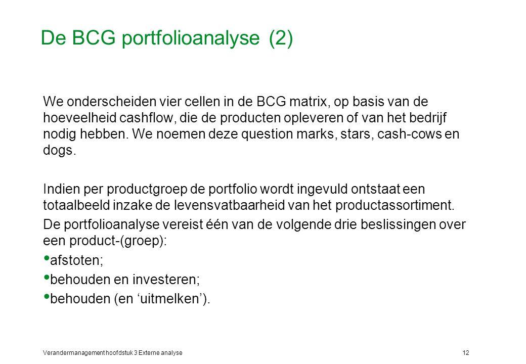 Verandermanagement hoofdstuk 3 Externe analyse12 De BCG portfolioanalyse (2) We onderscheiden vier cellen in de BCG matrix, op basis van de hoeveelhei
