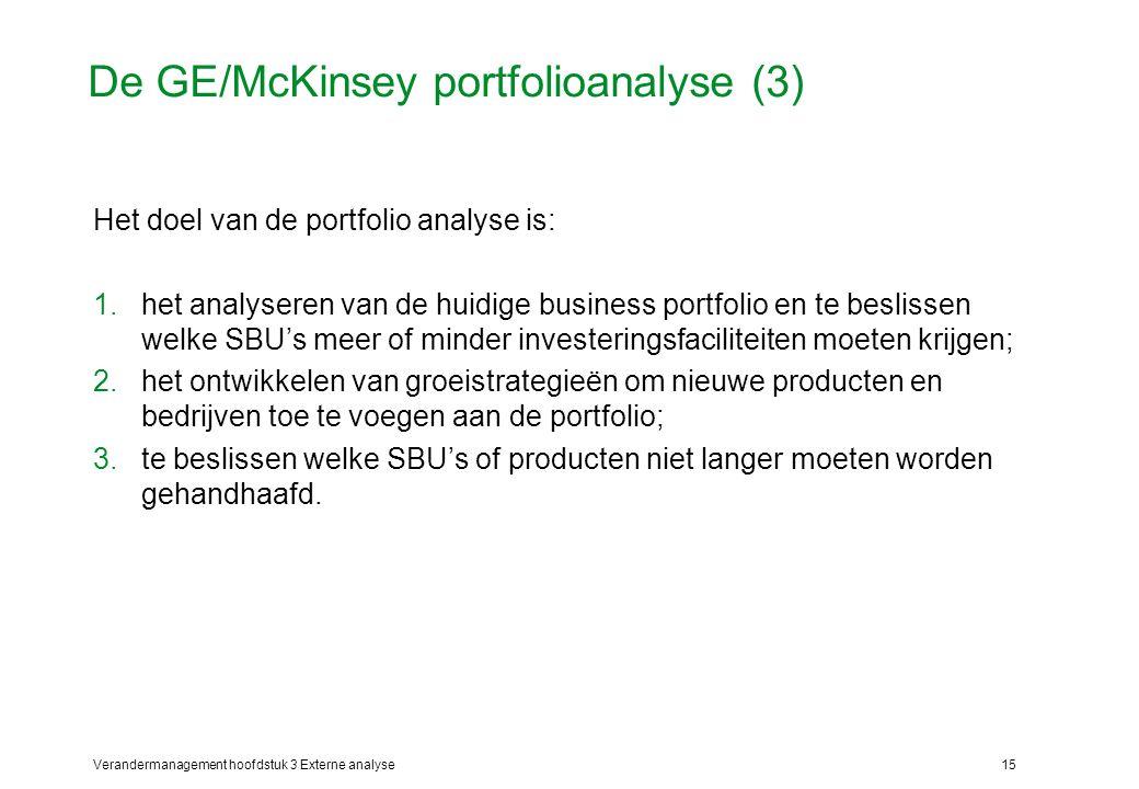 Verandermanagement hoofdstuk 3 Externe analyse15 De GE/McKinsey portfolioanalyse (3) Het doel van de portfolio analyse is: 1.het analyseren van de hui