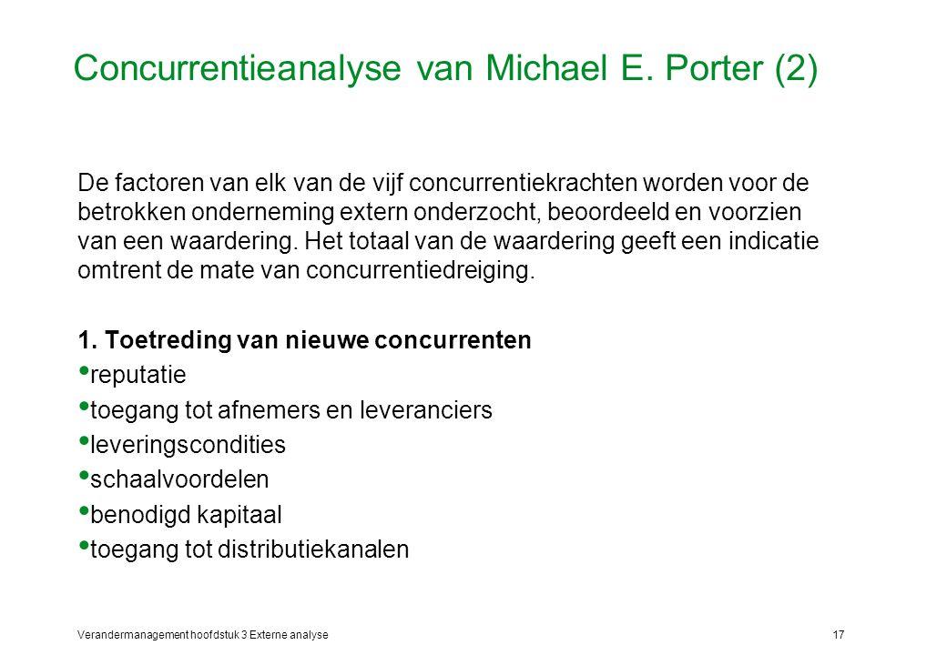 Verandermanagement hoofdstuk 3 Externe analyse17 Concurrentieanalyse van Michael E. Porter (2) De factoren van elk van de vijf concurrentiekrachten wo