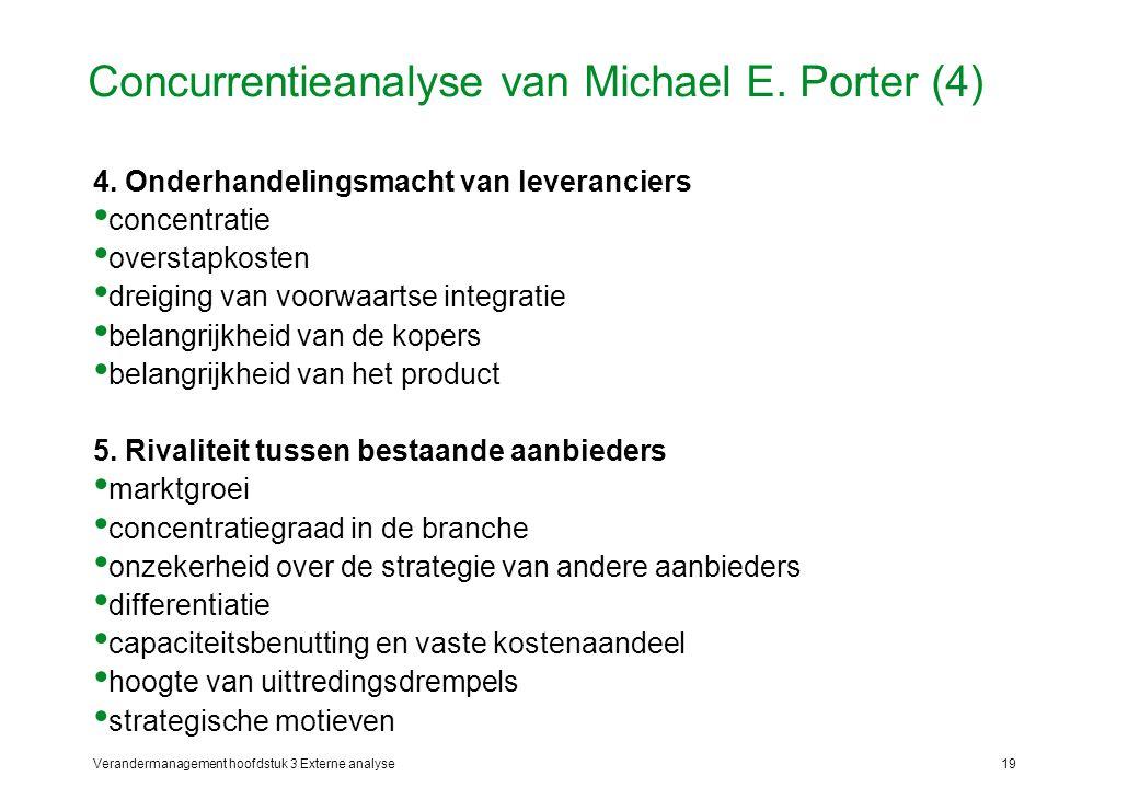 Verandermanagement hoofdstuk 3 Externe analyse19 Concurrentieanalyse van Michael E. Porter (4) 4. Onderhandelingsmacht van leveranciers concentratie o