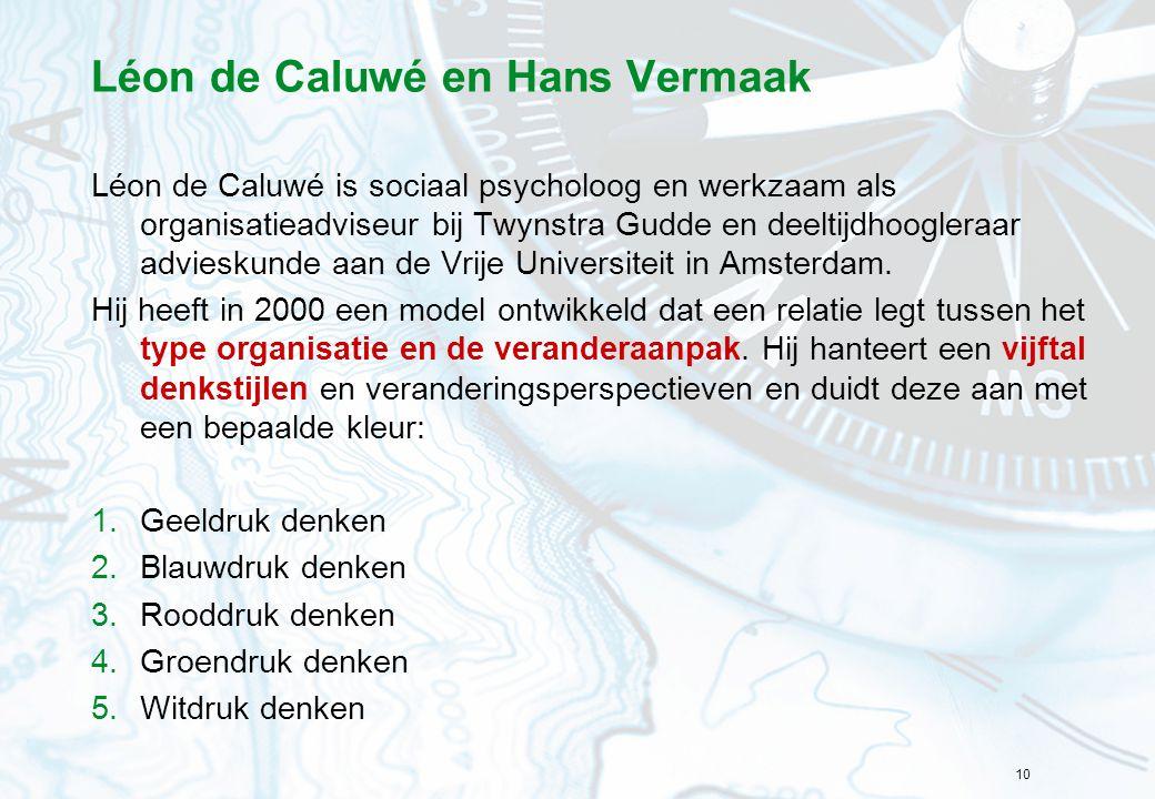 10 Léon de Caluwé en Hans Vermaak Léon de Caluwé is sociaal psycholoog en werkzaam als organisatieadviseur bij Twynstra Gudde en deeltijdhoogleraar ad