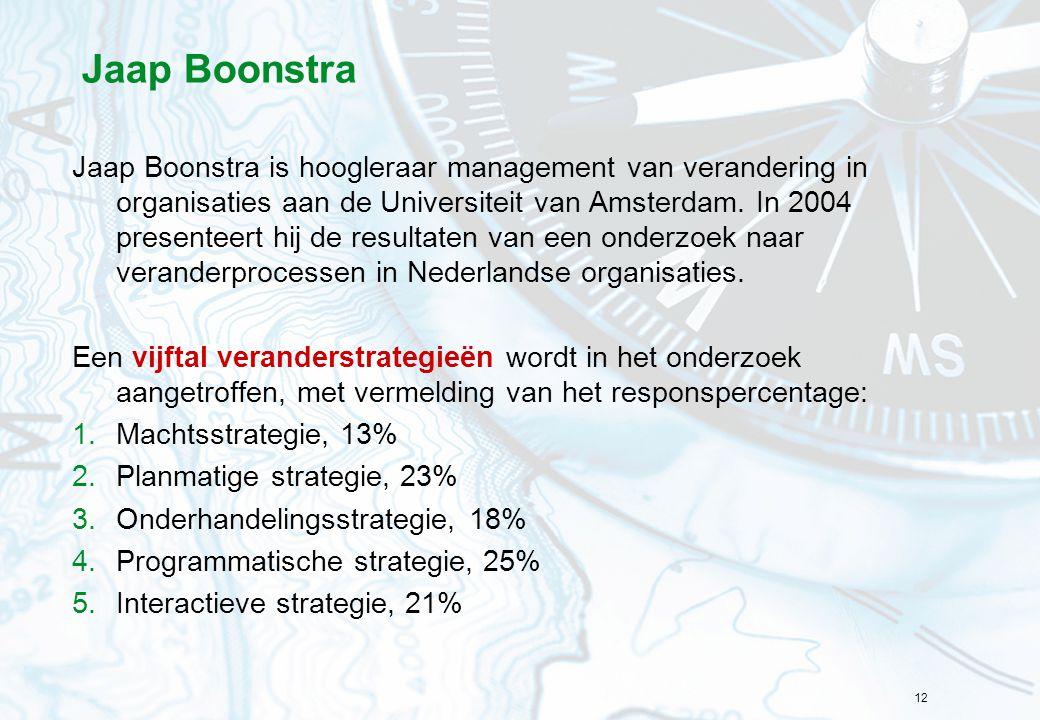 12 Jaap Boonstra Jaap Boonstra is hoogleraar management van verandering in organisaties aan de Universiteit van Amsterdam. In 2004 presenteert hij de