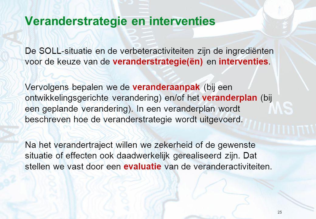 25 Veranderstrategie en interventies De SOLL-situatie en de verbeteractiviteiten zijn de ingrediënten voor de keuze van de veranderstrategie(ën) en in