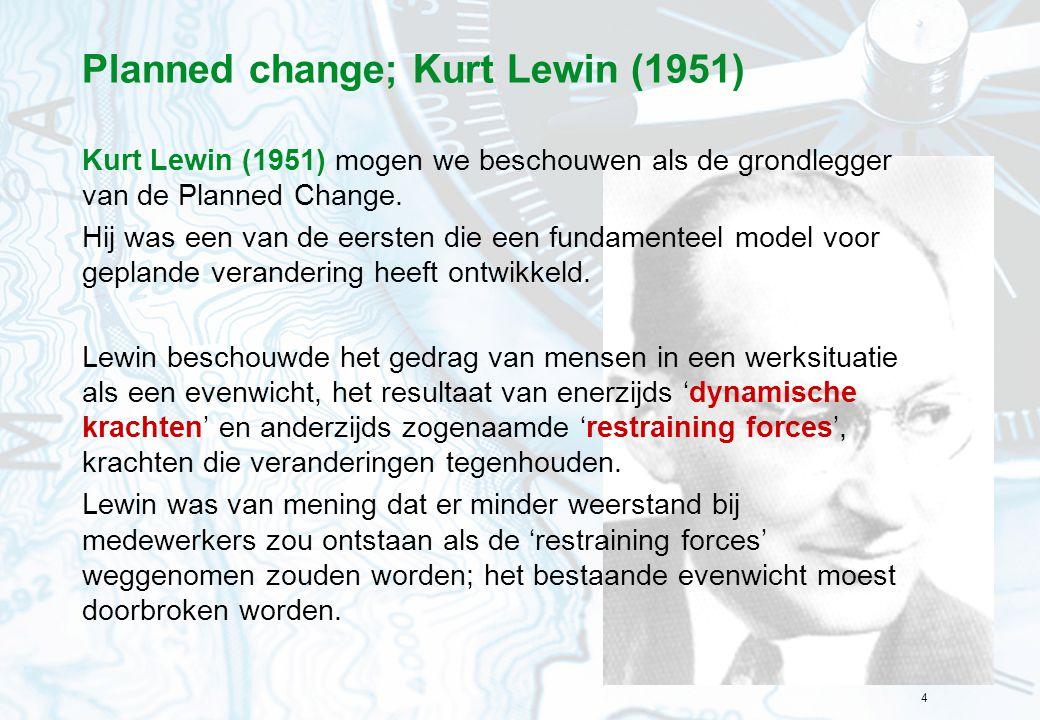 4 Planned change; Kurt Lewin (1951) Kurt Lewin (1951) mogen we beschouwen als de grondlegger van de Planned Change. Hij was een van de eersten die een